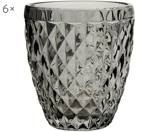 Bicchiere acqua Diamond 6 pz, Vetro, Grigio scuro, leggermente trasparente, Ø 9 x Alt. 10 cm