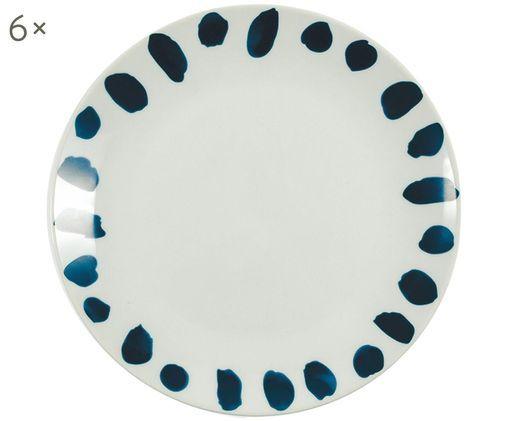 Piatto da colazione Masai, 6 pz., Porcellana, Blu scuro, bianco, Ø 19 cm