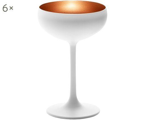 Coppa champagne in cristallo Elements 6 pz, Cristallo, rivestito, Bianco, bronzo, Ø 10 x Alt. 15 cm