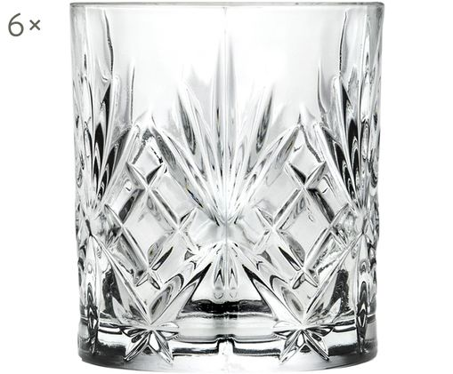 Bicchiere whiskey in cristallo Melodia 6 pz, Cristallo, Trasparente, Ø 8 x Alt. 9 cm