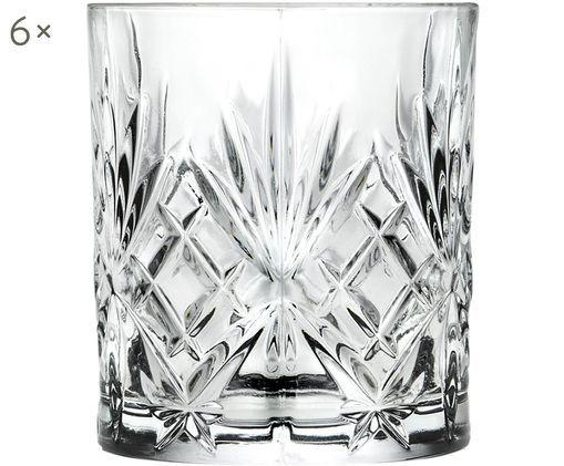 Kristallen whiskyglazen Melodia, 6 stuks, Kristalglas, Transparant, Ø 8 x H 9 cm