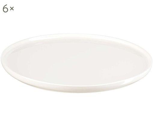 Frühstücksteller Oco, 6 Stück, Fine Bone China, Weiß, Ø 21 cm