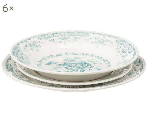 Serwis porcelanowy Rose, 18 elem., Ceramika, Biały, turkusowy, Różne rozmiary