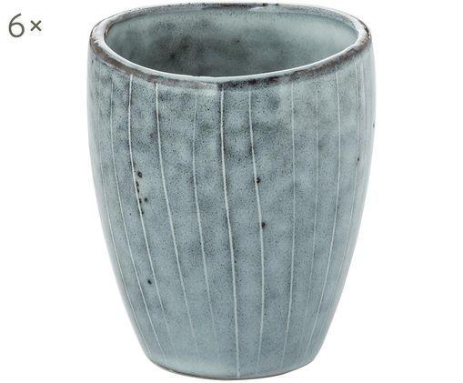 Handgefertigte Becher Nordic Sea, 6 Stück, Steingut, Grau- und Blautöne, Ø 8 x H 10 cm