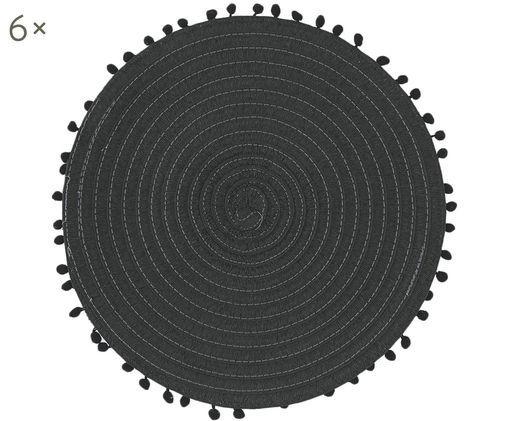 Tovagliette rotonde Mexico, 6 pz., Cotone, Nero, Ø 38 cm