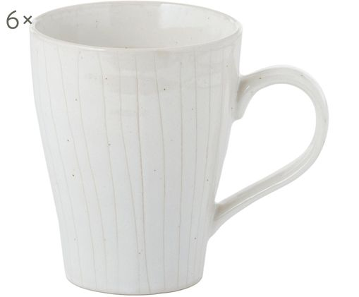 Handgefertigte Tassen Copenhagen mit feinen Streifen, 6 Stück, Elfenbein mit feinen hellbeigen Streifen