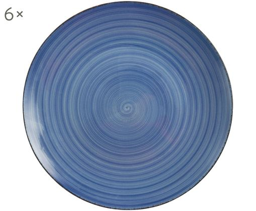 Speiseteller Baita, 6 Stück, Steingut (Hard Dolomite), handbemalt, Blau, Ø 27 cm