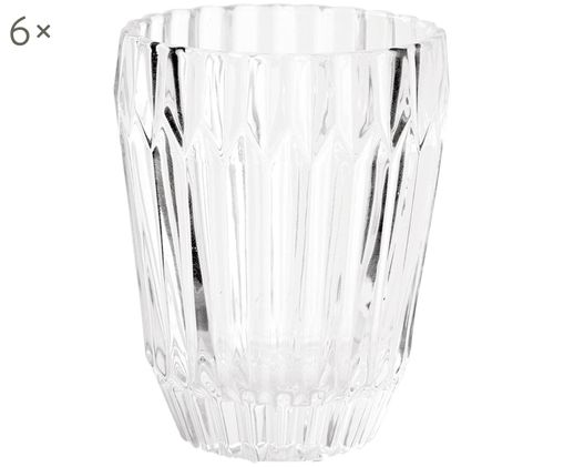 Set di 6 bicchieri per l'acqua Deco, Vetro, Trasparente, Ø 9 x Alt. 11 cm