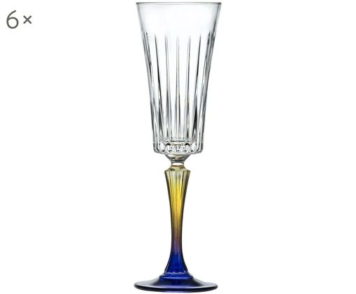 Flûtes à champagne en cristalteinté Gipsy, 6pièces, Transparent, jaune, bleu