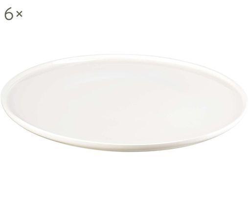 Speiseteller Oco, 6 Stück, Fine Bone China, Weiß, Ø 27 cm