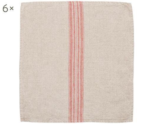 Tovaglioli di lino Jara, 6 pz., Beige, rosso, P 43 x L 43 cm