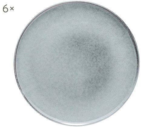 Speiseteller Relic, 6 Stück, Steingut, Blaugrau, Ø 27 cm