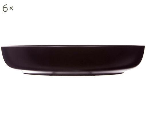 Suppenteller Okinawa, 6 Stück, Keramik, Schwarz, matt, Ø 22 x H 4 cm