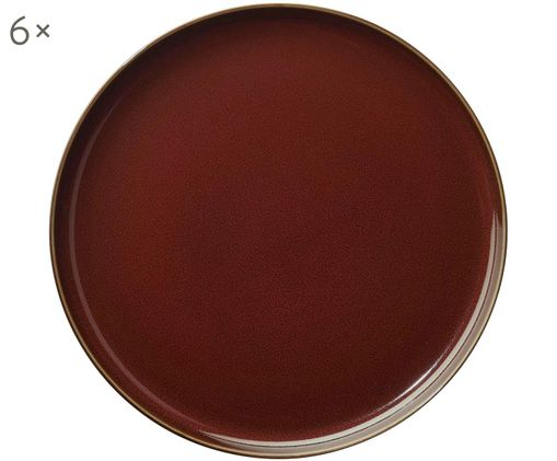 Speiseteller Kolibri, 6 Stück, Porzellan, Rostrot, Braun, Ø 27 cm