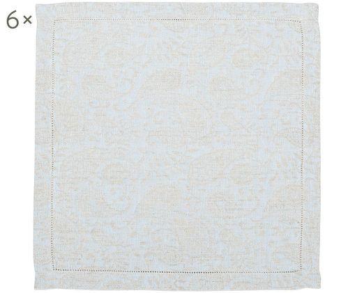 Tovaglioli in lino Agila con motivo paisley, 6 pezzi, Beige, blu, Larg. 42 x Lung.42 cm