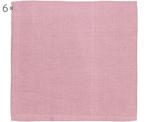 Tovagliolo di stoffa Amadeus, 6 pz., Cotone, Rosa, Larg. 42 x Lung. 42 cm