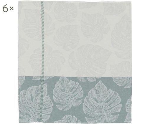 Canovaccio Monstera, 6 pz., Cotone, Verde salvia, greige, grigio, Larg. 60 x Lung. 65 cm