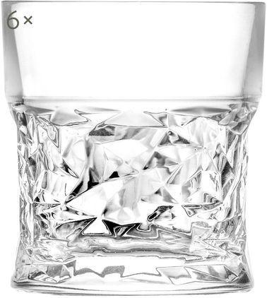 Kristallgläser Bicchiero mit geometrischem Reliefmuster, 6er-Set