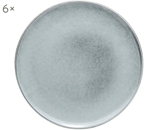 Frühstücksteller Relic, 6 Stück, Steingut, Blaugrau, Ø 23 cm