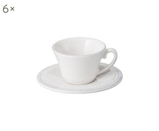 Espressotassen mit Untertassen Constance in Weiß, 6 Stück, Keramik, Weiß, Ø 13 x H 6 cm
