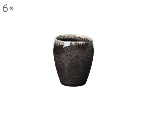 Handgemachte Espressobecher Nordic Coal, 6 Stück, Steingut, Bräunlich, Ø 6 x H 8 cm