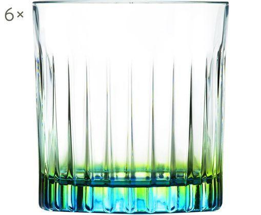 Verres à cocktail bicoloresen cristal Luxion®Gipsy, 6pièces, Transparent, jaune-vert, turquoise