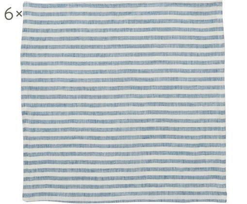Leinenservietten Solami, 6 Stück, Leinen, Hellblau, Weiß, 46 x 46 cm