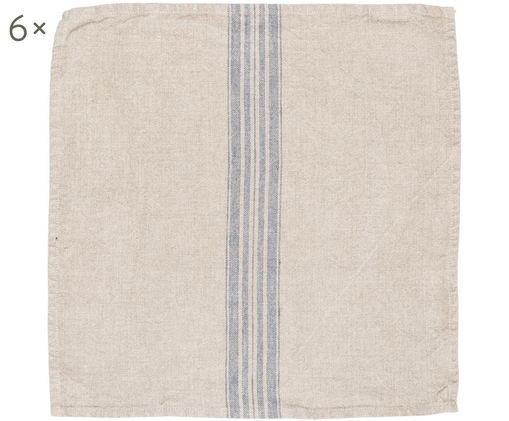 Tovaglioli di lino Jara, 6 pz., Beige, blu, P 43 x L 43 cm