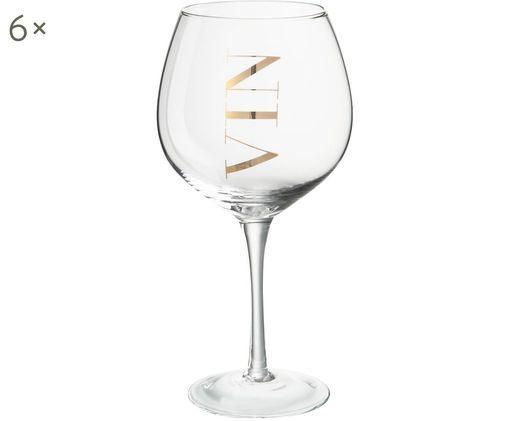 Weingläser Vin mit Aufschrift, 6er-Set, Transparent, Goldfarben