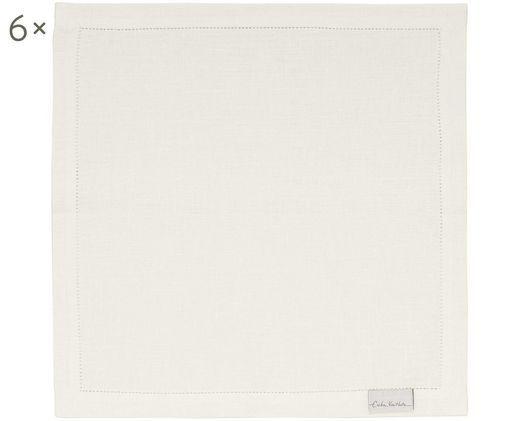 Leinenservietten Alanta, 6 Stück, Cremeweiß, 42 x 42 cm