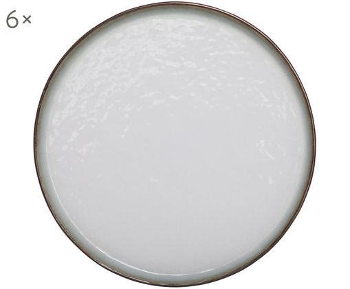 Piatto da colazione Plato, 6 pz., Gres, Marrone, bianco, Ø 22 cm