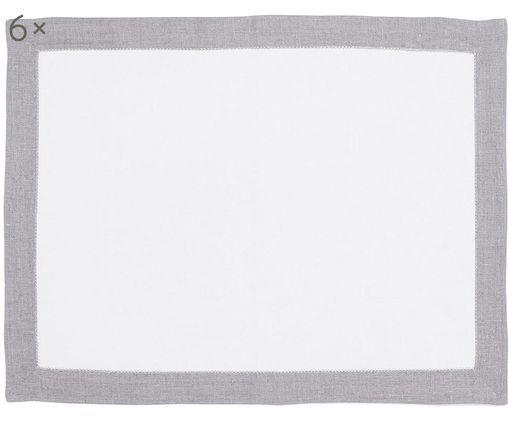 Tovagliette di lino Alanta, 6 pz., Bianco, Beige, Larg. 38 x Lung. 50 cm