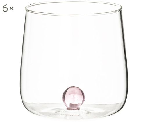 Verres à eau design soufflés bouche Bilia, 6 pièces, Transparent, rose