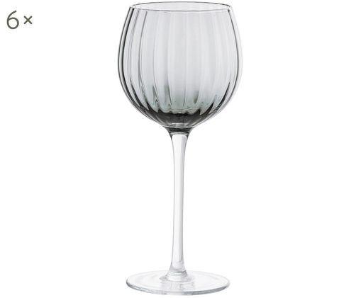 Weingläser Pure mit Rillenstruktur, 6er-Set, Transparent, Grau