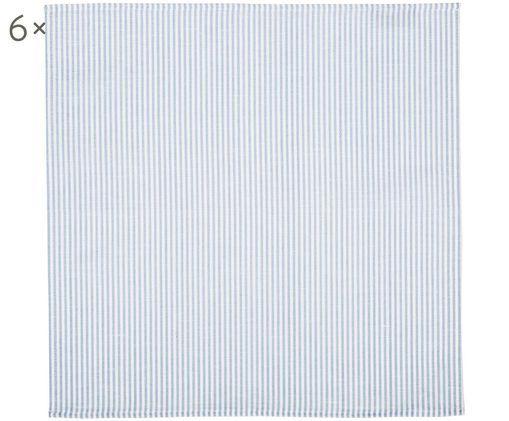 Leinenservietten Streifen, 6 Stück, Weiß, Hellblau, 45 x 45 cm