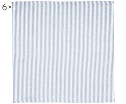Serviettes de table composées pour moitié de lin Rayures, 6 pièces, Blanc, bleu ciel