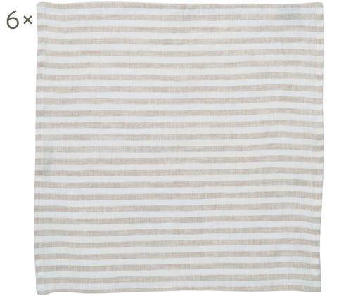 Tovaglioli di lino Solami, 6 pz., Lino, Beige, bianco, Larg. 46 x Lung. 46 cm