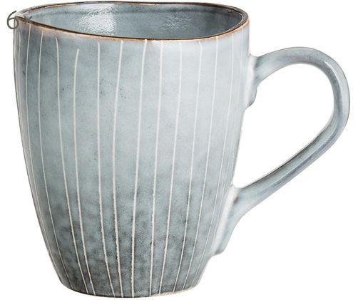 Handgemachte Tassen Nordic Sea, 6 Stück, Steingut, Grau- und Blautöne, Ø 8 x H 10 cm