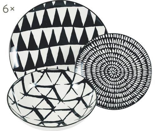 Komplet talerzy Mokala, 18-elem., Porcelana, Czarny, biały, Różne rozmiary