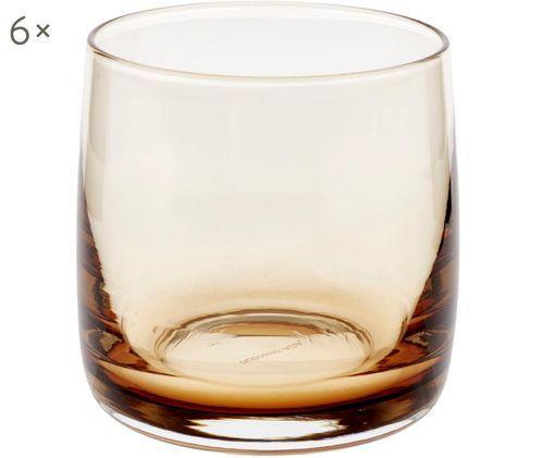 Szklanka do wody Colored, 6 szt., Szkło, Odcienie bursztynowego, transparentny, Ø 8 x W 8 cm