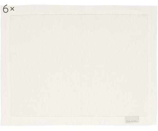 Tovaglietta americana in lino Alanta 6 pz, Crema, Larg. 38 x Lung. 50 cm
