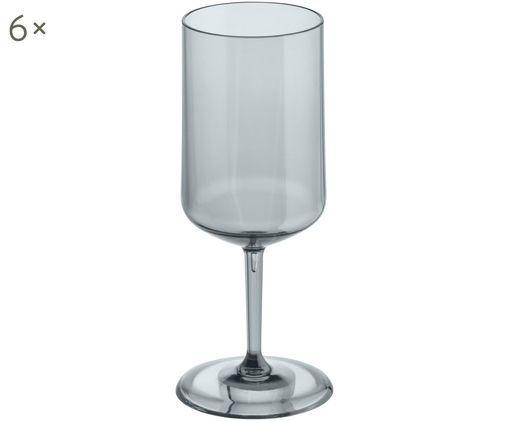 Bruchfeste Kunststoff-Weißweingläser Cheers, 6 Stück, Grau, transparent