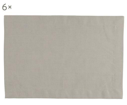 Set tovagliette Bombay, 6 pz., Cotone, Grigio verde, P 35 x L 50 cm