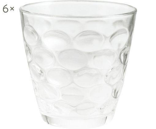 Wassergläser Bolle mit Wabenstruktur, 6er-Set, Glas, Transparent, Ø 9 x H 10 cm