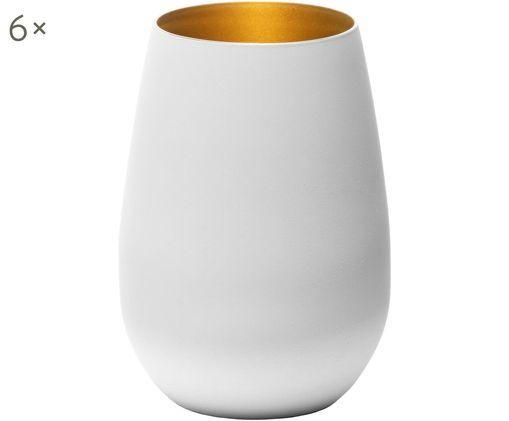 Kristall-Longdrinkgläser Elements in Weiss/Gold, 6er-Set, Kristallglas, beschichtet, Weiss, Messingfarben, Ø 9 x H 12 cm