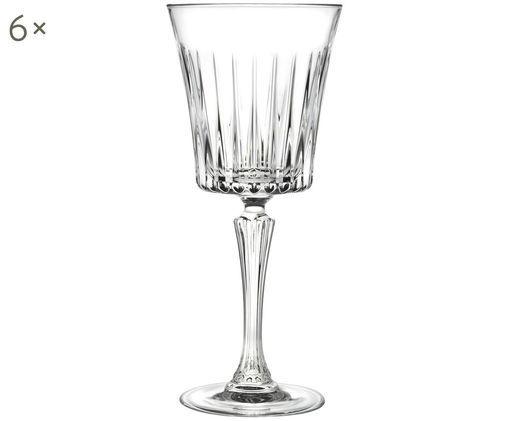 Kristall-Weißweingläser Timeless mit Rillenrelief, 6er-Set, Transparent