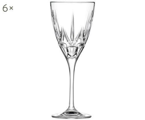 Kristall-Weißweingläser Chic mit Relief, 6er-Set, Kristallglas, Transparent, Ø 8 x H 21 cm