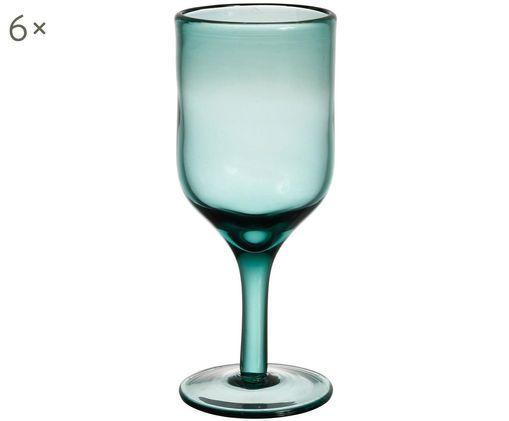 Robuste Weißweingläser Agosta in Türkis, 6er-Set, Türkis, transparent