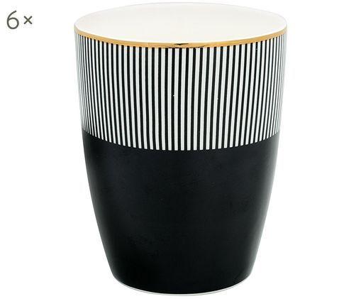 Handgefertigte Becher Corine, 6Stück, Steingut, Schwarz, Weiß, Goldfarben, Ø 9 x H 11 cm