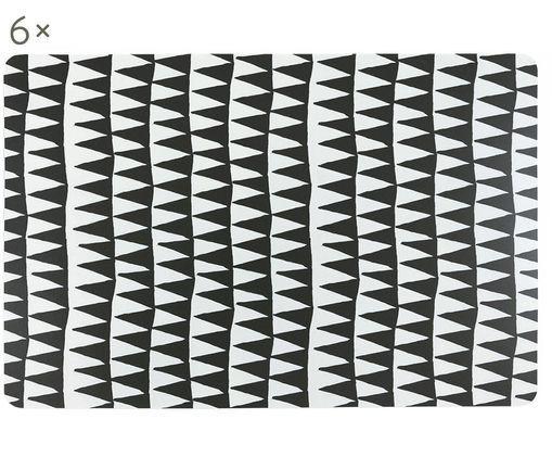 Tovagliette di plastica Triangolo Masai, 6 pz., Materiale sintetico stampato, Nero, bianco, Larg. 30 x Lung. 45 cm